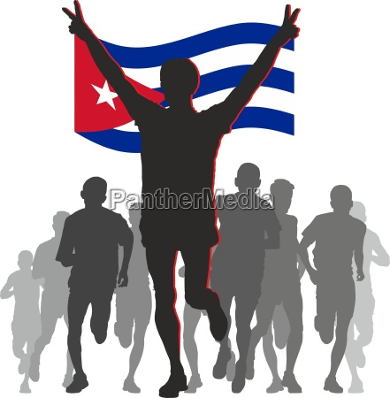 athlete with the cuba flag at