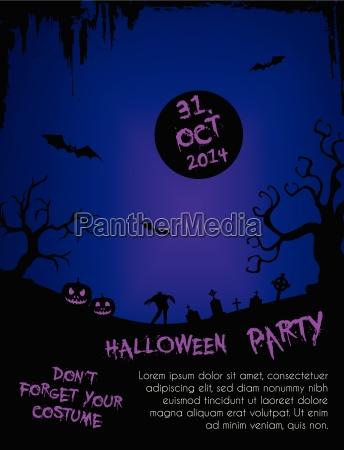 halloween party flyer template purple