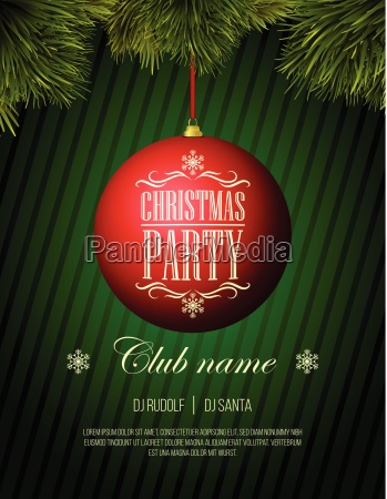 christmas party flyer template red