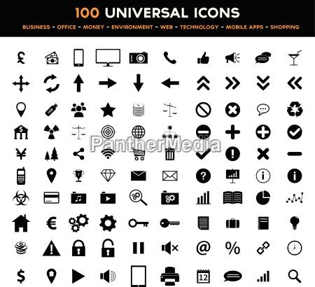duzy zestaw uniwersalny czarny plaski ikon