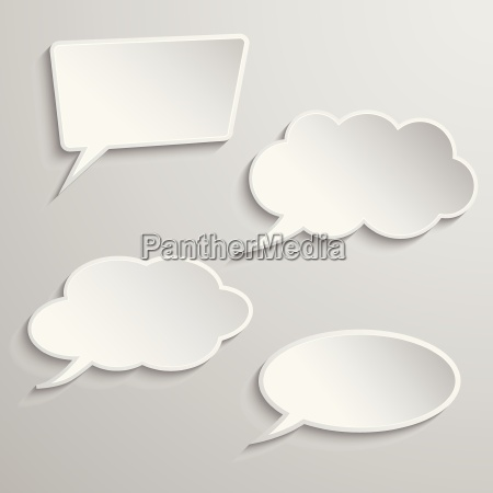 set of four thought bubbles