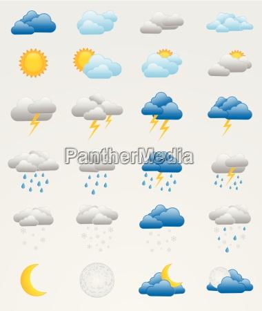 zestaw kolorowych ikon pogodowych
