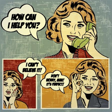 ilustracje do komiksow z retro kobieta