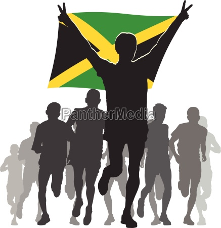 athlete with the jamaica flag at