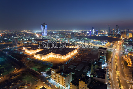view of kuwait city at night