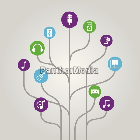 abstract icon tree illustration music