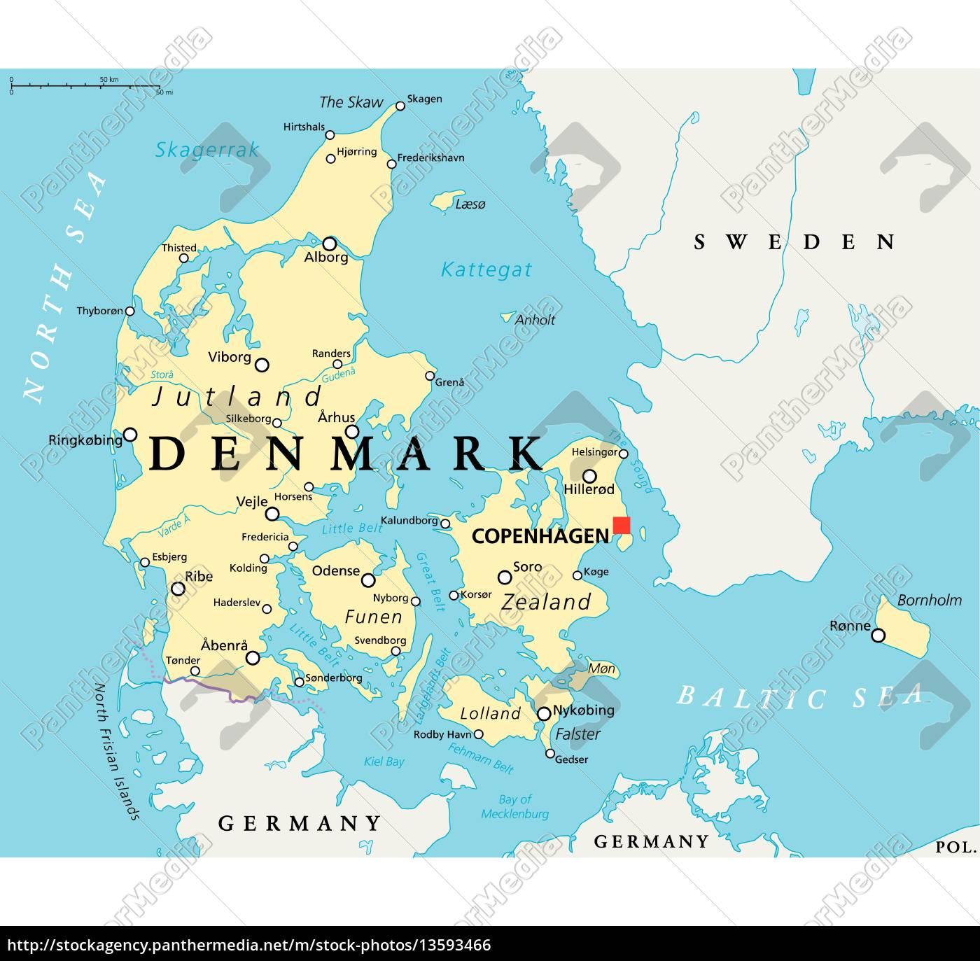 Dania Mapa Polityczna Stockphoto 13593466 Agencja Panthermedia