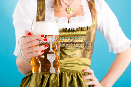 young woman in traditional dirndl or