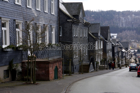 typical houses with slate cladding