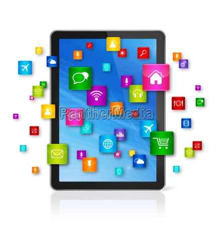 ikony cyfrowego komputera typu tablet i