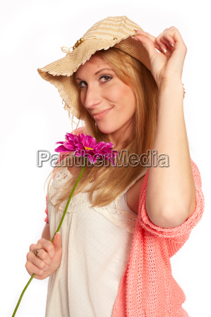 young funky girl with flower