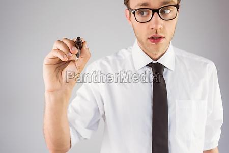 naukowy biznesmen pisanie markerem