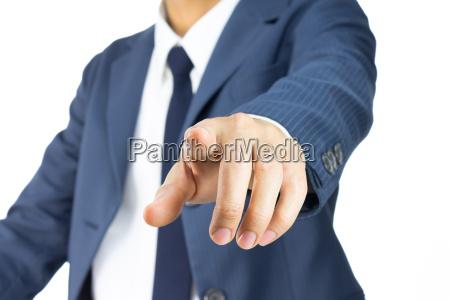 businessman touching screen or pushing button