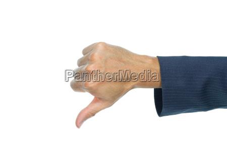 biznesmena kciuka puszka palec odizolowywajacy na