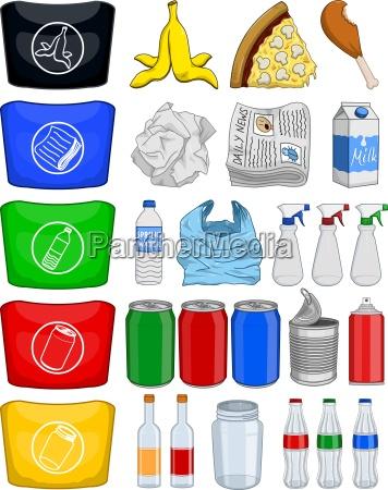 butelki, spożywcze, puszki, papieru, kosz, kosz - 13864787