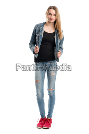 young blond girl in jeans