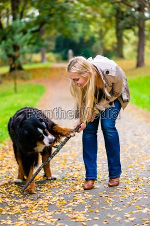 kobieta i pies podczas apportujacych kij