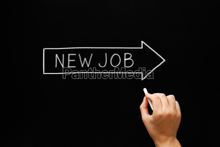 new job arrow concept blackboard