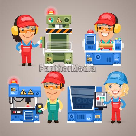 zestaw cartoon pracy pracownikow na maszynach