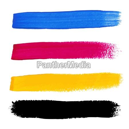 cmyk kolory wektorowe akrylowe plamy