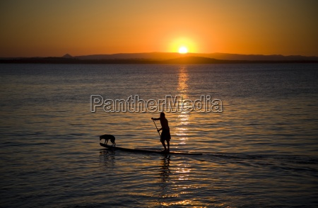 surfer and dog on stand up