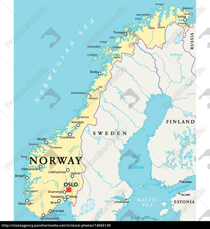 Mapa Polityczna Norwegii Royalty Free Image 14066149