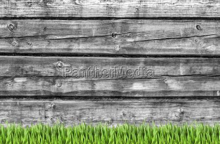 drewniana sciana i zielone tlo trawy
