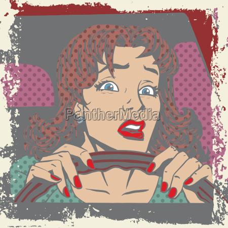 scared kierowca kobieta za kierownica samochodu