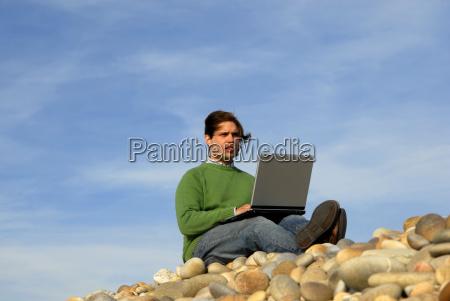 niebieski laptop notebook komputerow komputery komputerowe