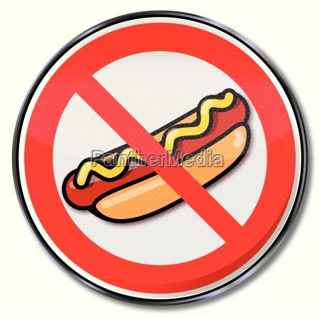 znak zakazu dla hot dogow z