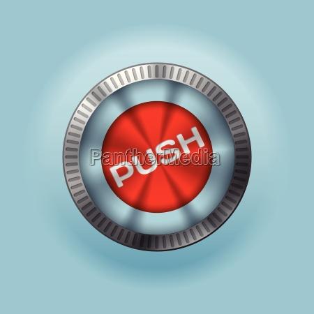 blyszczacy metaliczny przycisk z push text