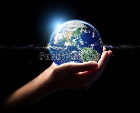 ręka, trzymać, ziemi, i, wszechświata, koncepcja - 14224409