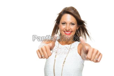 mloda ladna brunetki kobieta z podnoszacymi