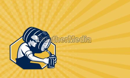 business card bartender pouring keg barrel