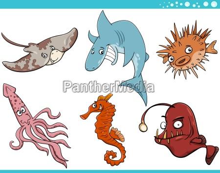 zwierzeta morskie life cartoon set