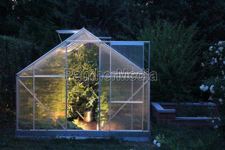 greenhouse in the evening