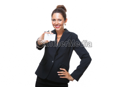 young attractive businesswoman hands over a