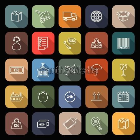 linie logistyczne plaskie ikony z dlugim
