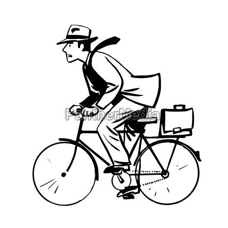 biznesmen linia szybko podroz rower retro