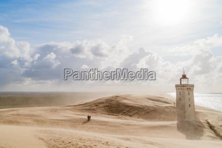 burza, piaskowa, na, latarni, morskiej - 14771833