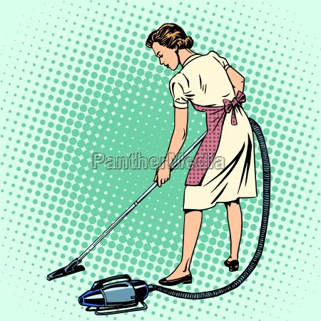 kobieta odkurzanie pokoj gospodyni domowe komfort