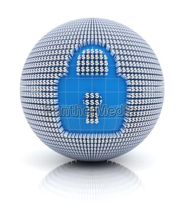 ikona zabezpieczenia na kuli ziemskiej utworzona