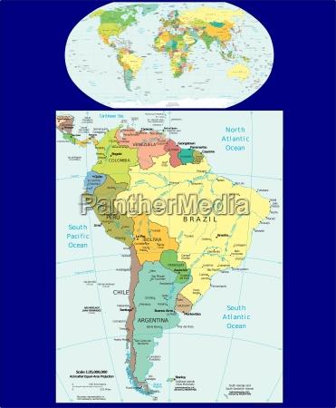 mapa regionu ameryki poludniowej i swiata