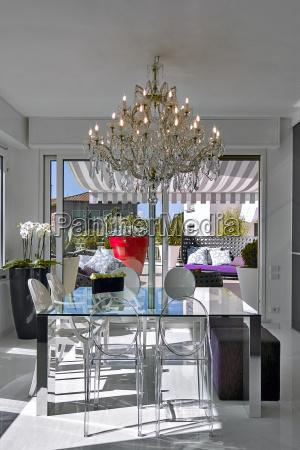 stol mebel patio zyrandol w domu