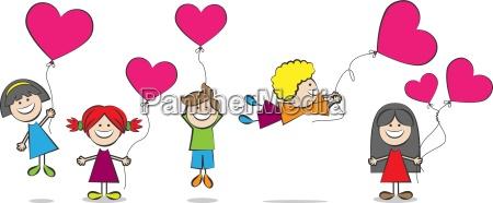 dzieci z ilustracji wektorowych serca balony