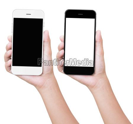 hand holding telefon izolowanych z wycinek