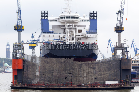 ship in dock of a shipyard
