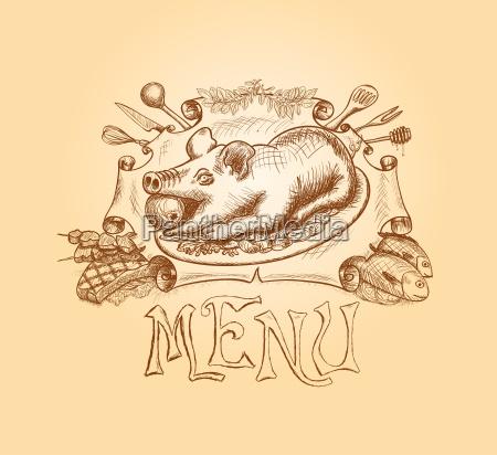 wektor recznie rysowane tytul menu