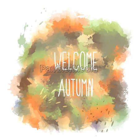 witamy jesienia recznie rysowane napis na