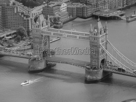 black and white aerial view of